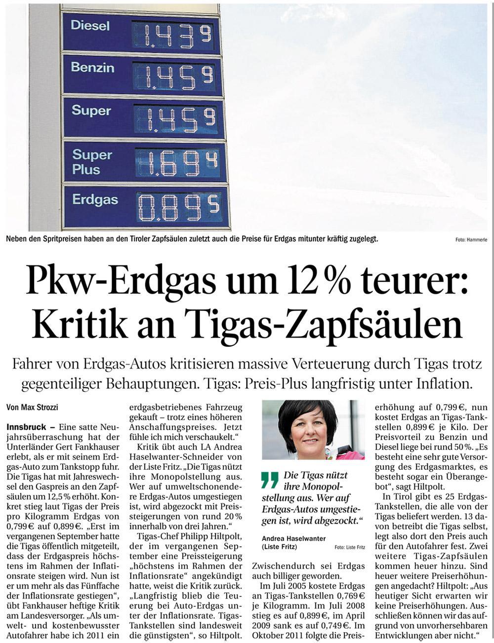 Bericht der Tiroler Tageszeitung zur TIGAS