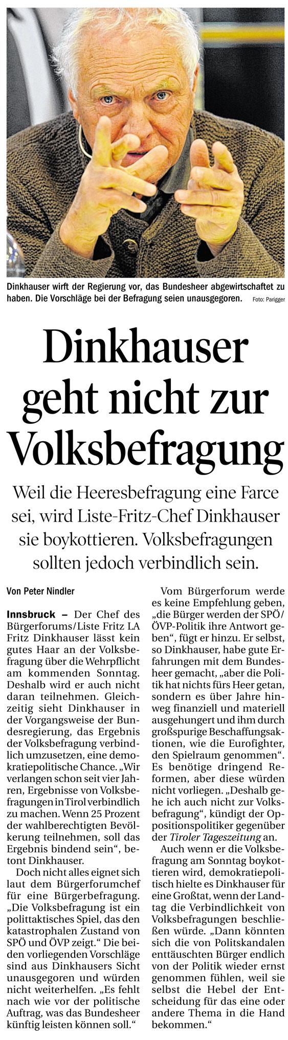Bericht in der Tiroler Tageszeitung über die Volkbefragung
