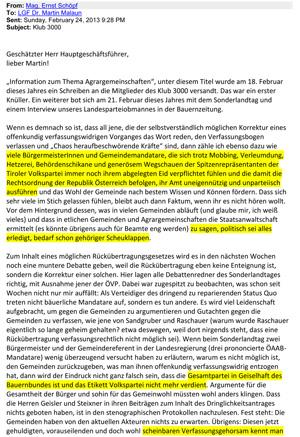 Offener Brief von Ernst Schöpf zum Agrarunrecht
