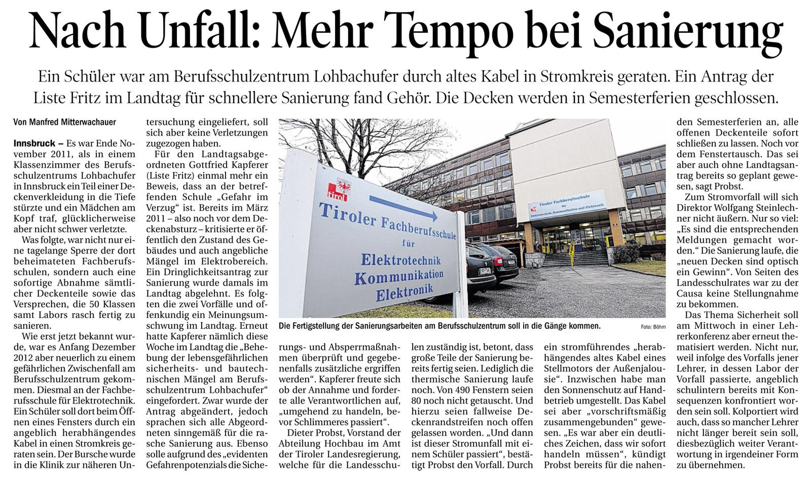 Bericht der Tiroler Tageszeitung zur Sanierung in der Berufsschule Lohbachufer
