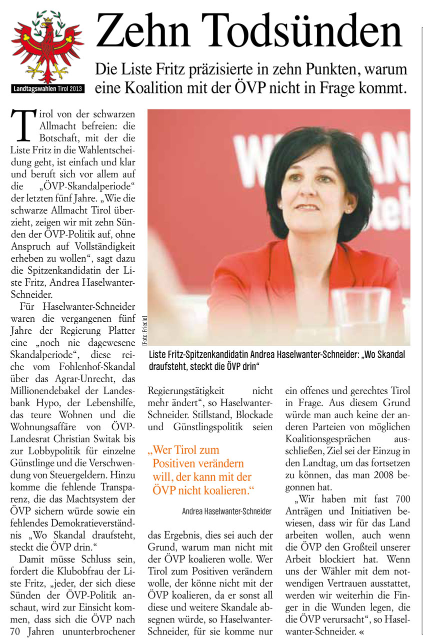 Bericht im Basics zur Tiroler Landtagswahl 2013