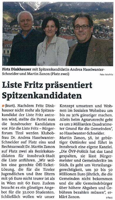 Bericht der Bezirksblätter zum Liste Fritz Spitzenkandidaten in Innsbruck