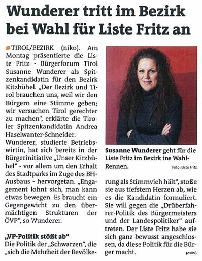 Bericht der Bezirksblätter zur Kandidatur der Liste Fritz in Kitzbühel