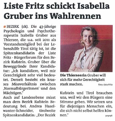 Bericht der Bezirksblätter zur Kandidatur der Liste Fritz in Kufstein