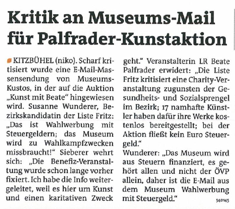 Bericht der Bezirksblätter zum Museum Kitzbühel