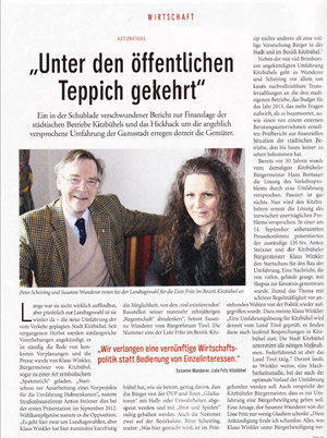Bericht im Echo-Magazin zur Kandidatur der Liste Fritz in Kitzbühel