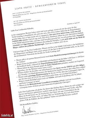 Offener Brief von LR Palfrader im Kitzbüheler Anzeiger