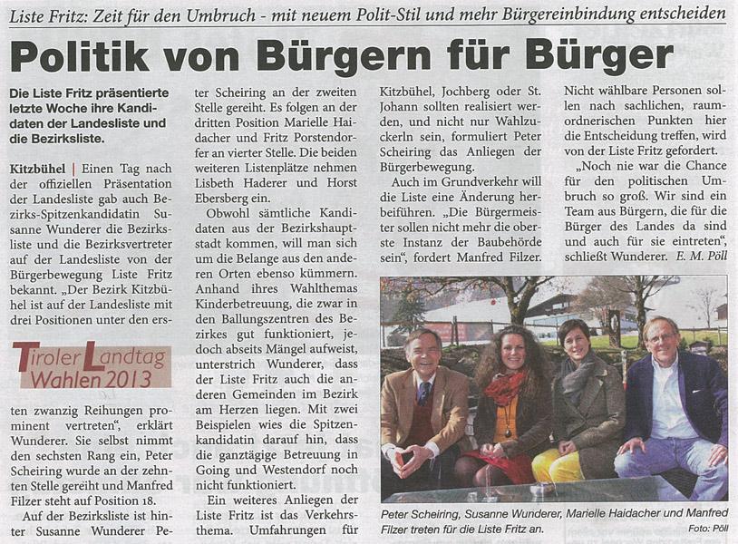 Bericht des Kitzbüheler Anzeigers zur Kandidatur der Liste Fritz in Kitzbühel