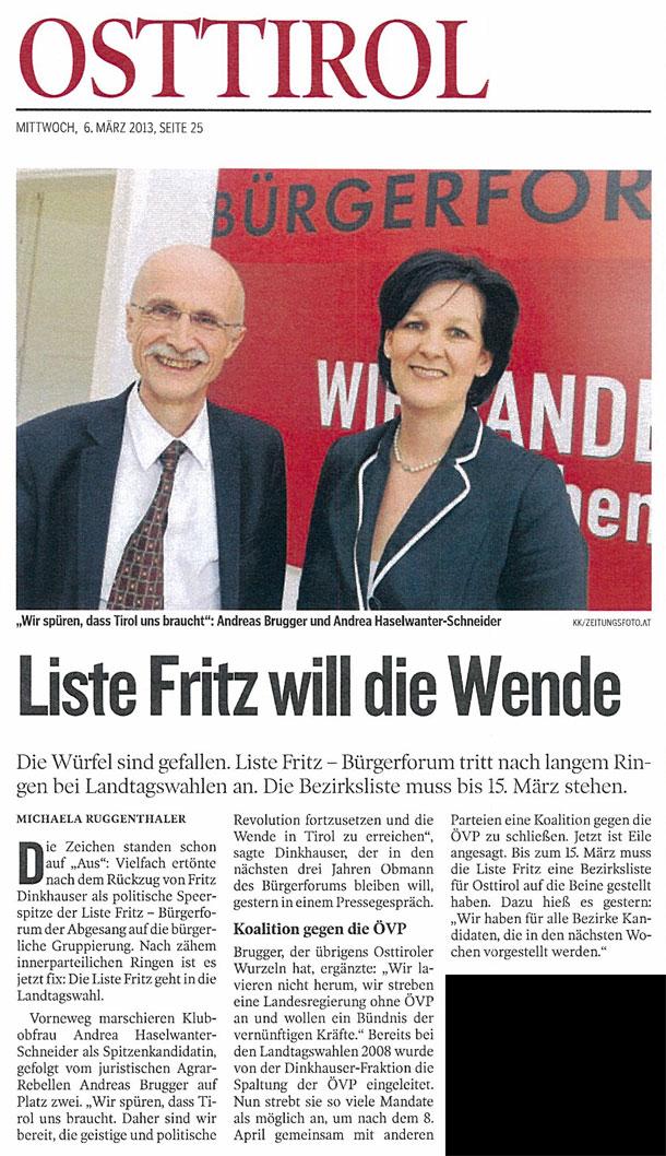 Bericht der Kleinen Zeitung zum Antreten der Liste Fritz bei den Landtagswahlen