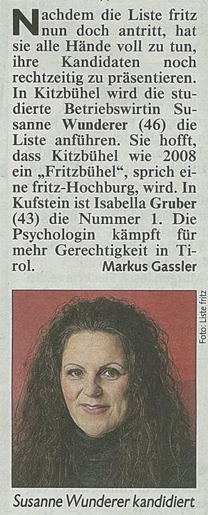 Bericht der Kronen Zeitung zur Kandidatur der Liste Fritz in Kitzbühel