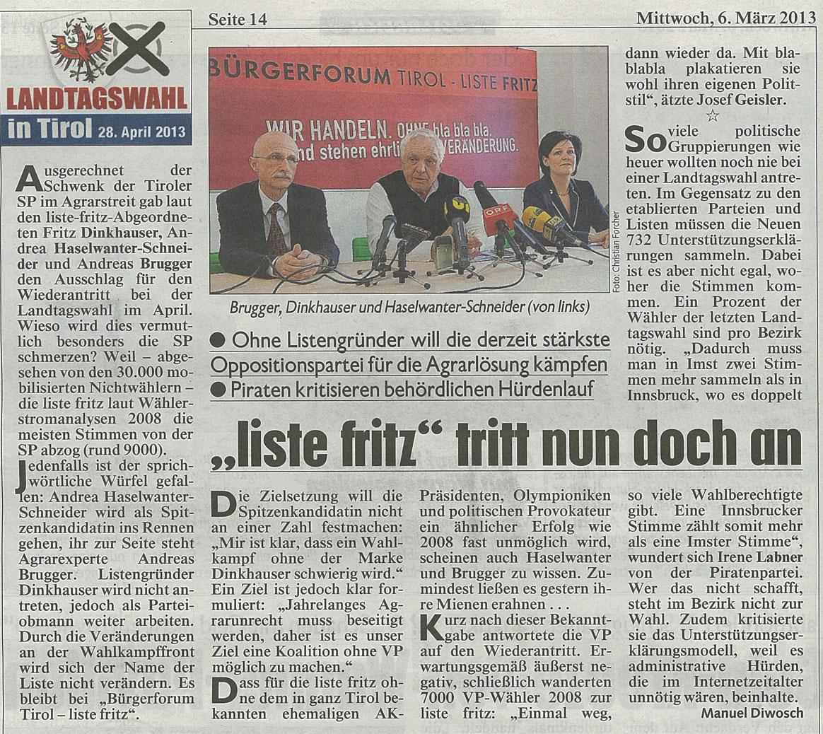 Bericht der Kronen Zeitung zum Antreten der Liste Fritz bei den Landtagswahlen