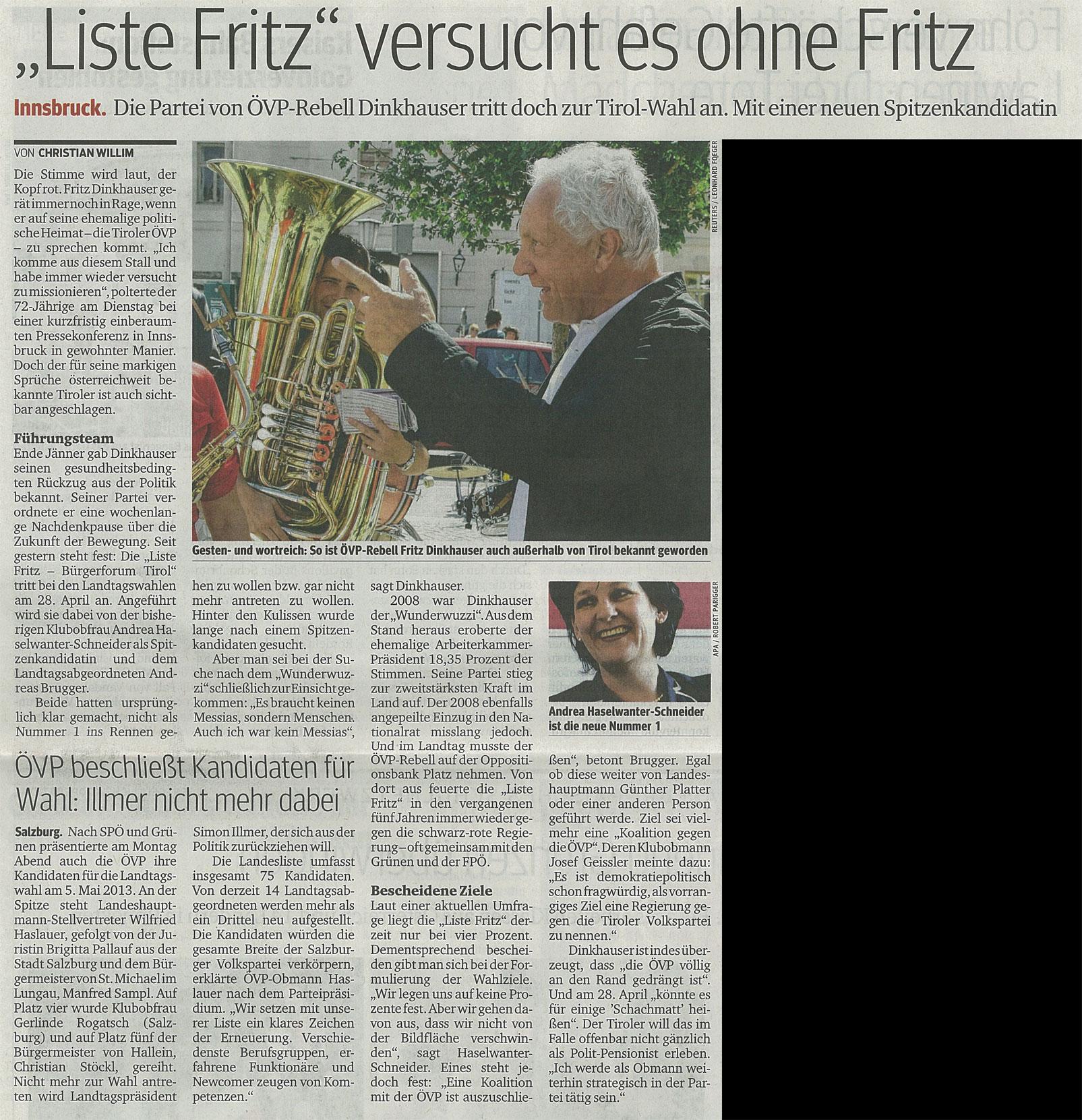Bericht des Kurier zum Antreten der Liste Fritz bei den Landtagswahlen