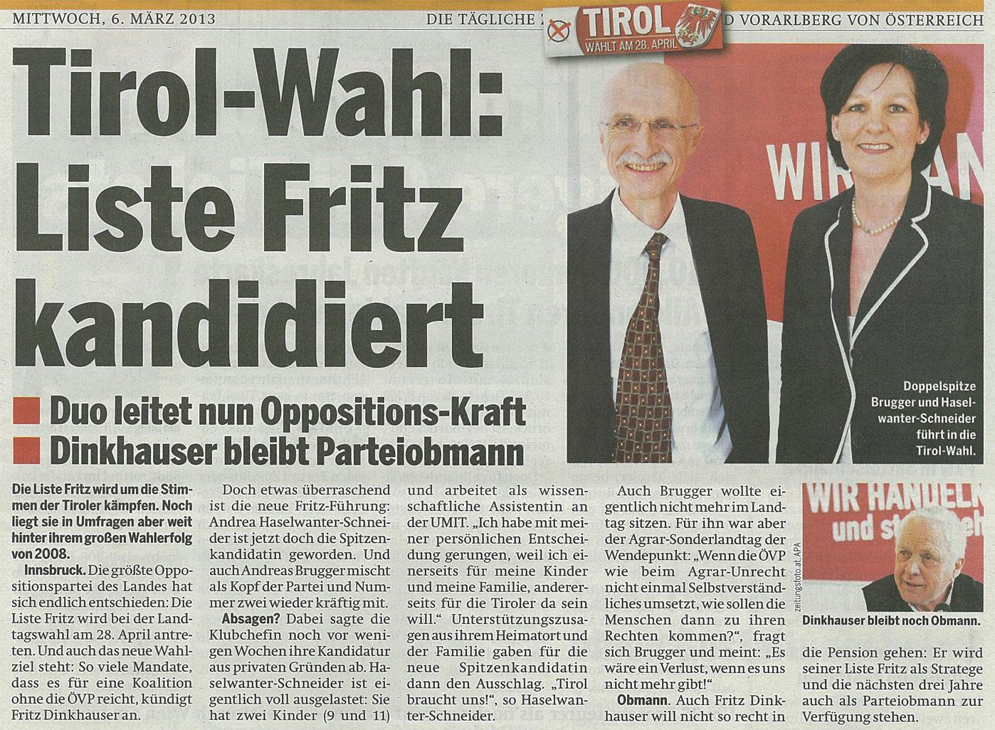 Bericht in Österreich zum Antreten der Liste Fritz bei den Landtagswahlen