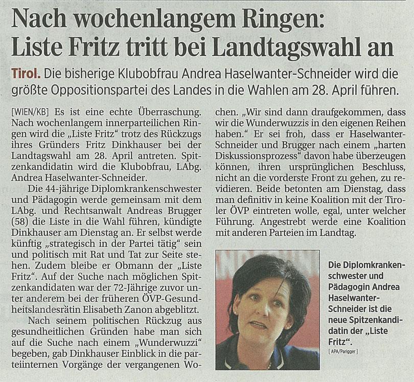 Bericht in der Presse zum Antreten der Liste Fritz bei den Landtagswahlen