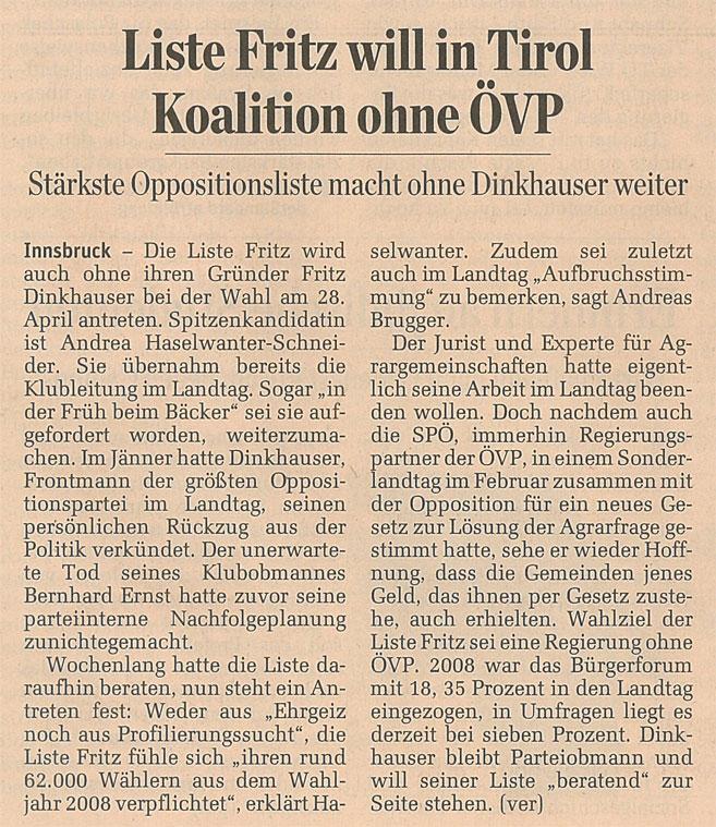 Bericht im Standard zum Antreten der Liste Fritz bei den Landtagswahlen