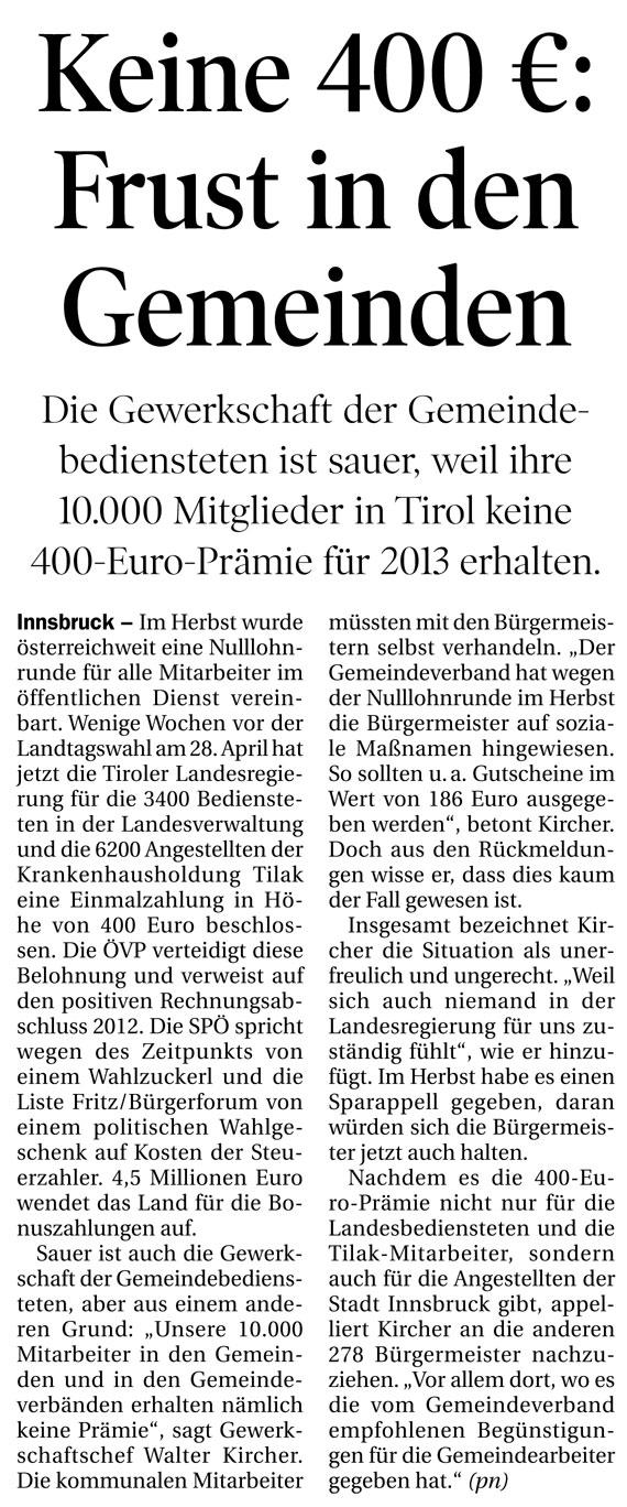Bericht in der Tiroler Tageszeitung zum Thema Prämie für Gemeindebedienstete