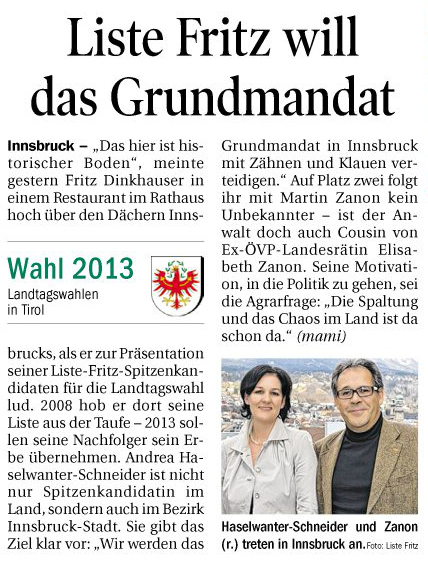 Bericht der Tiroler Tageszeitung zum Liste Fritz Spitzenkandidaten in Innsbruck