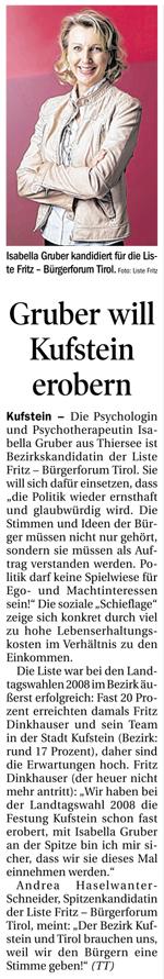 Bericht der Tiroler Tageszeitung zur Kandidatur der Liste Fritz in Kufstein