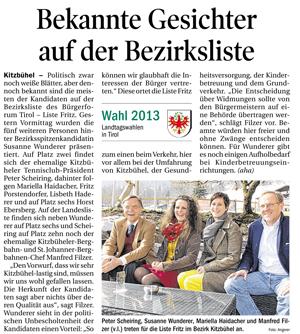 Bericht der Tiroler Tageszeitung zur Kandidatur der Liste Fritz in Kitzbühel