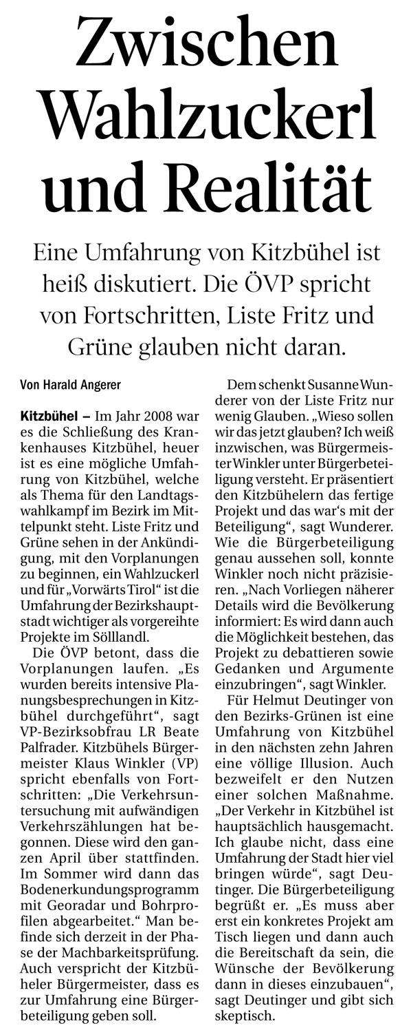 Bericht der Tiroler Tageszeitung zur Umfahrung Kitzbühel