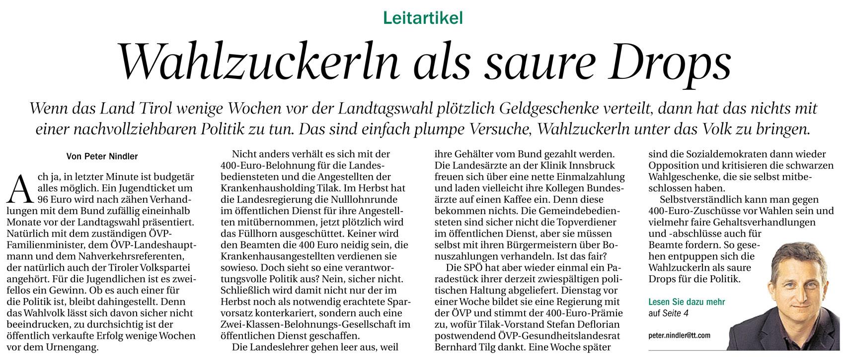 Kommentar in der Tiroler Tageszeitung zum Thema Öffis