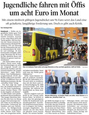 Bericht in der Tiroler Tageszeitung zum Thema Öffis