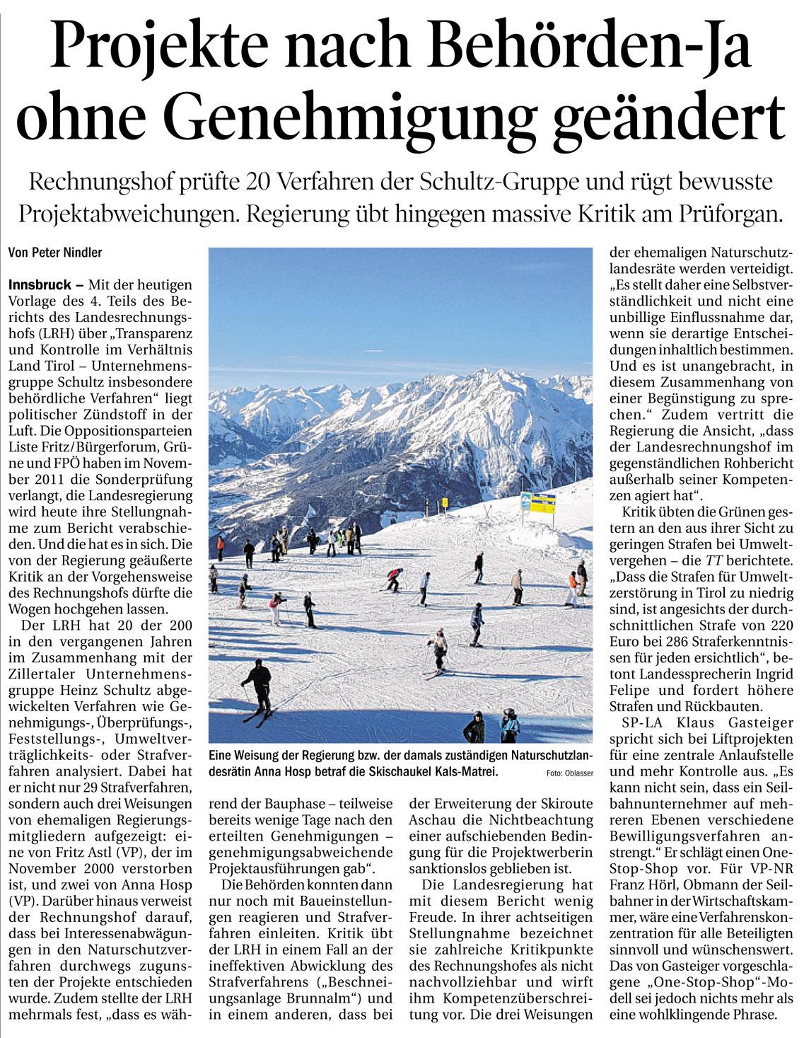 Bericht der Tiroler Tageszeitung zur Sonderprüfung der Schultz-Gruppe
