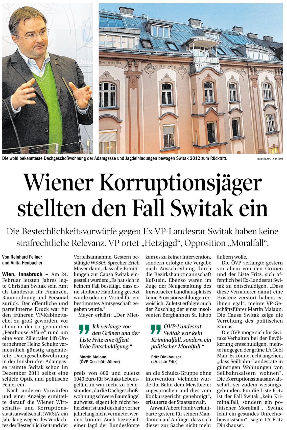 Bericht der Tiroler Tageszeitung zum Fall Switak