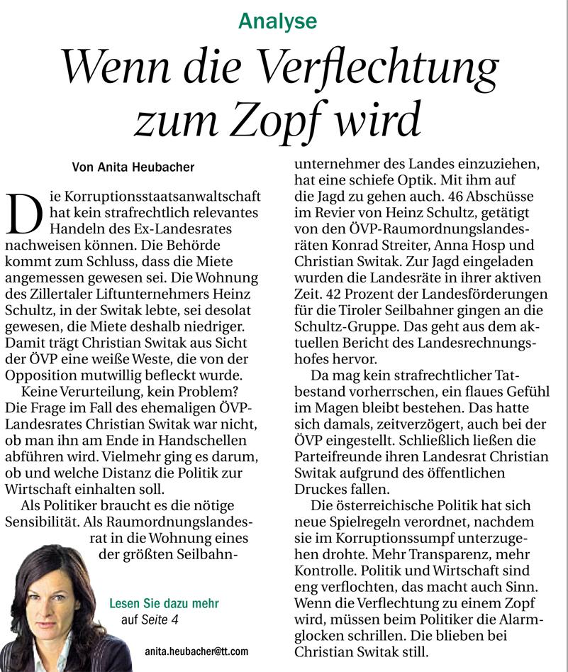 Kommentar der Tiroler Tageszeitung zum Fall Switak