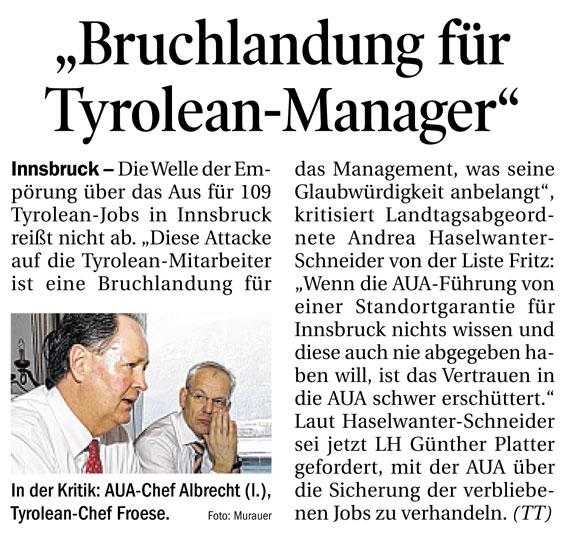 Bericht der Tiroler Tageszeitung zur Tyrolean
