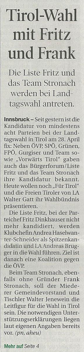Bericht der Tiroler Tageszeitung zum Antreten der Liste Fritz bei den Landtagswahlen