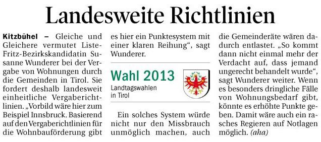 Bericht der Tiroler Tageszeitung zur Wohnungsvergabe in Kitzbühel