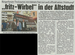 Bericht der Kronen Zeitung zum Wahlkampfauftakt der Liste Fritz