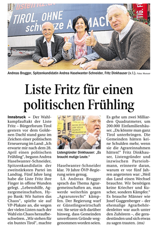 Bericht der Tiroler Tageszeitung zum Wahlkampfauftakt der Liste Fritz