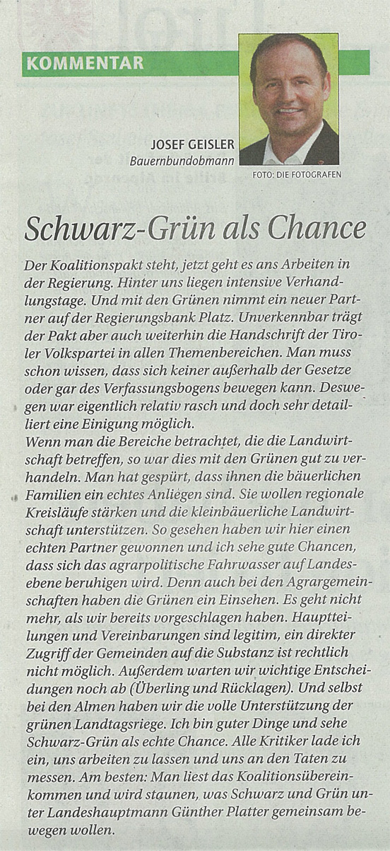 ÖVP-Landesrat Geisler zu Schwarz-Grün in Tirol