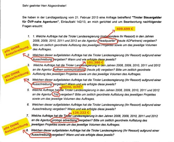 Anfrage zur Vergabe öffentlicher Aufträge an ÖVP-nahe-Agenturen