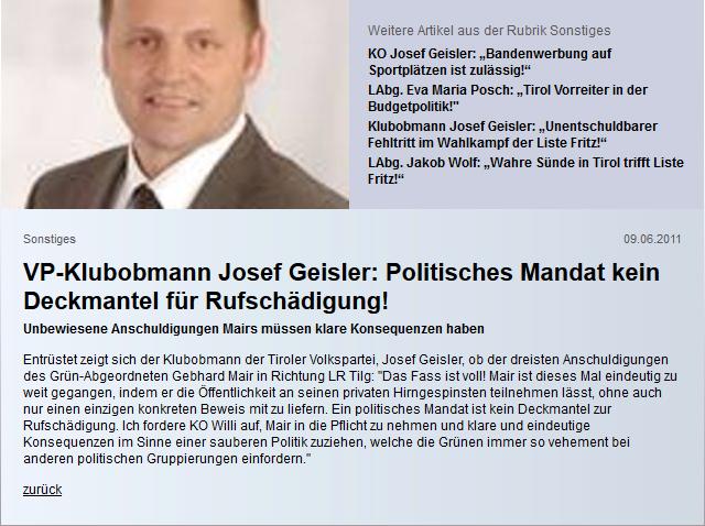 ÖVP-Klubobmann Geisler zu Gebi Mair