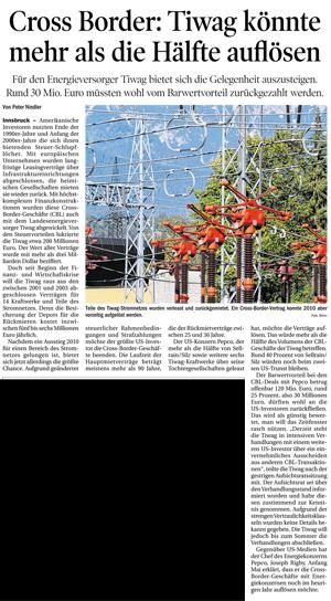 Bericht der Tiroler Tagezeitung zur TIWAG