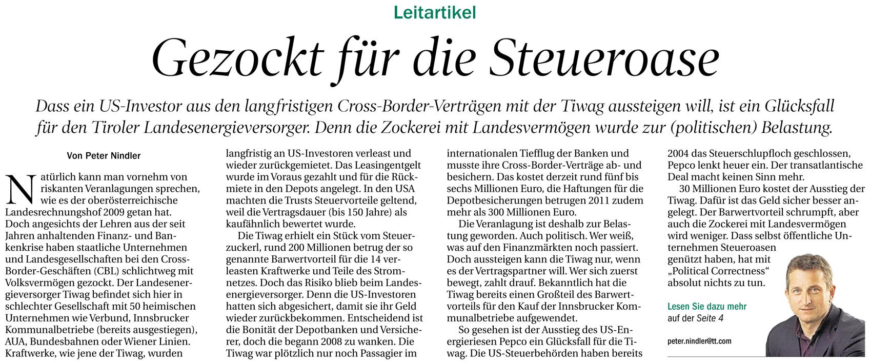 Kommentar der Tiroler Tageszeitung zur TIWAG