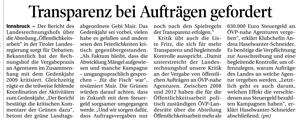 Bericht der Tiroler Tageszeitung zum Thema Transparenz