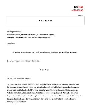 Antrag der Liste Fritz für billigere Strom- und Gaspreise