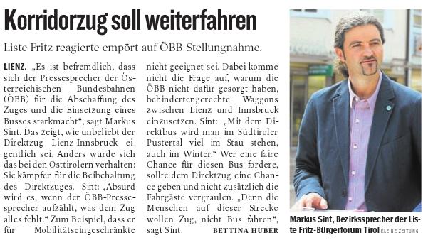 Bericht der Kleinen Zeitung