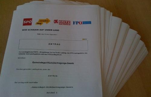 Antrag der Tiroler Oppositionsparteien für ein Rückübertragungsgesetz