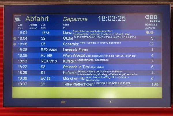 Abfahrtsplan für den Ersatzbus nach Lienz