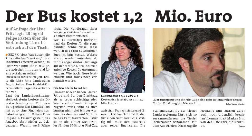 Bericht der Bezirksblätter Osttirol zum Direktzug