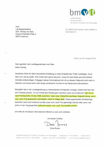 Schreiben von Verkehrsministerin Doris Bures an Landtagspräsident Herwig van Staa