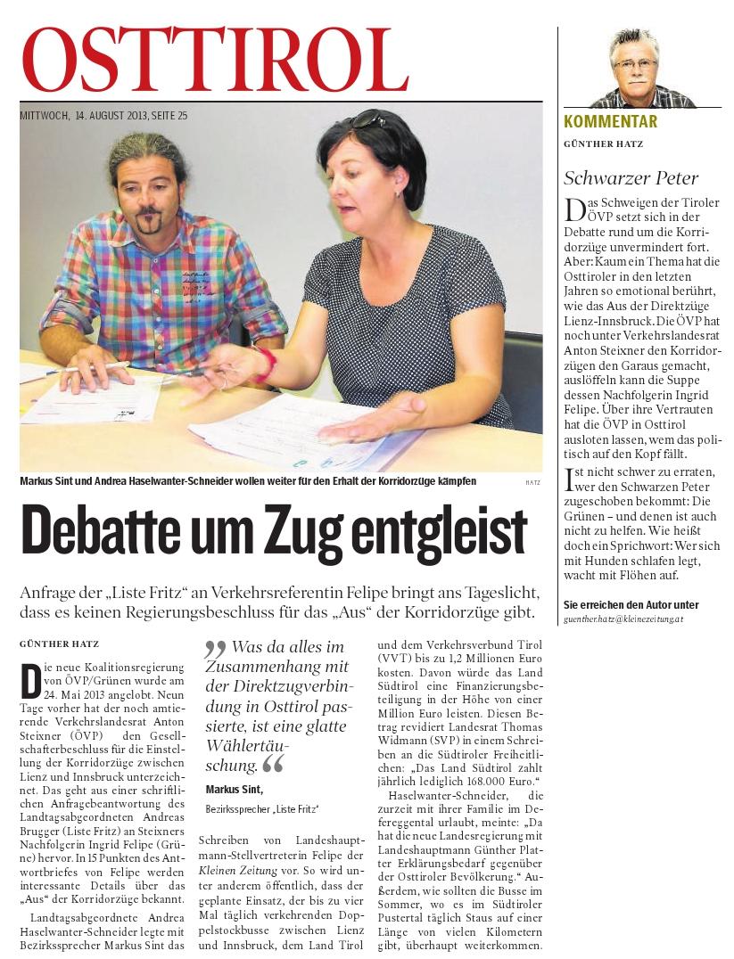 Bericht der Kleinen Zeitung zum Direktzug