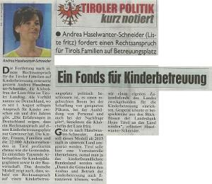 Bericht der Kronen Zeitung zur Kinderbetreuung