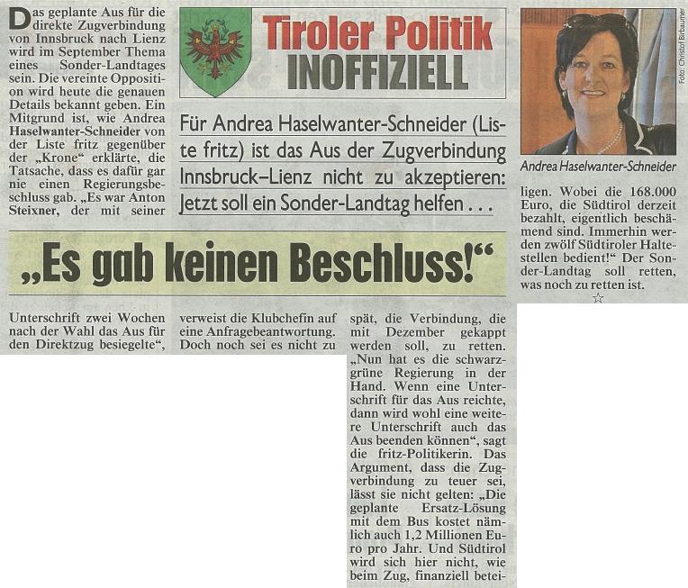 Bericht der Tiroler Kronen Zeitung zum Direktzug
