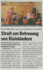 Bericht in der Tageszeitung Österreich zur Kinderbetreuung